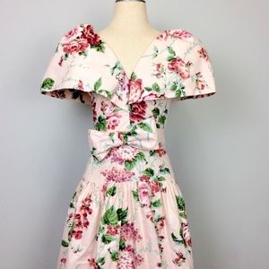 Vintage Currie Bonner Pink Floral Style Dress